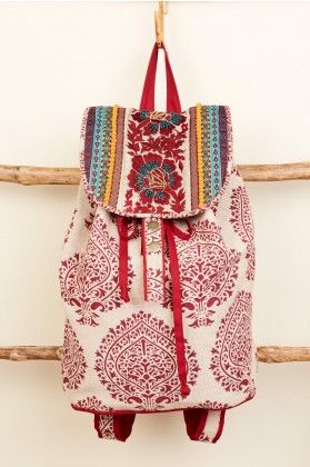 Red Paisley Embroidered Backpack - Earthbound Trading Co.