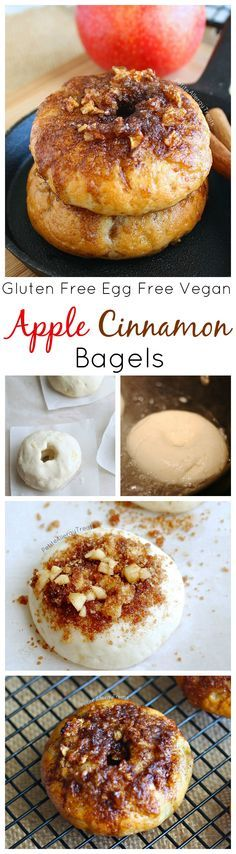 Gluten Free Cinnamon Apple Bagels (egg free vegan) Gluten free bagels never tasted so good! Bite into a bagel with sweet apples with a cinnamon top crunch!