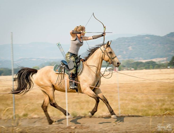 Horse and rider with bow and arrow. #MountedArchery