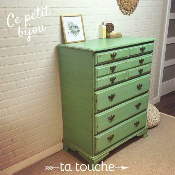 Ce Petit Bijou Ta Touche Mobilier De Salon Relooking Meuble Commode Verte