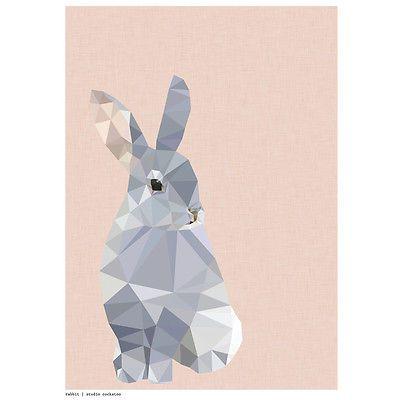 NEW-Geometric-rabbit-art-print-Womens-by-Studio-Cockatoo
