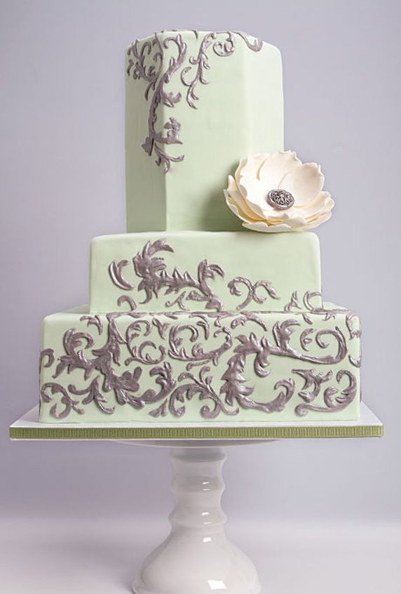 Cake Decorations For Silver Wedding : Silver Scrollwork on Mint Green Wedding Cake. #wedding # ...