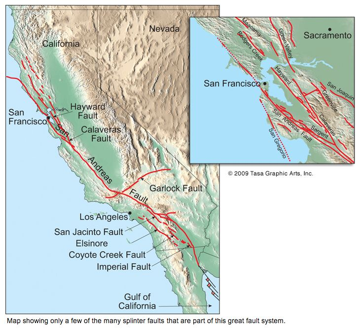 San Andreas Fault Map By Tasa Graphic Artists Map California Garlock Fault On Us Map