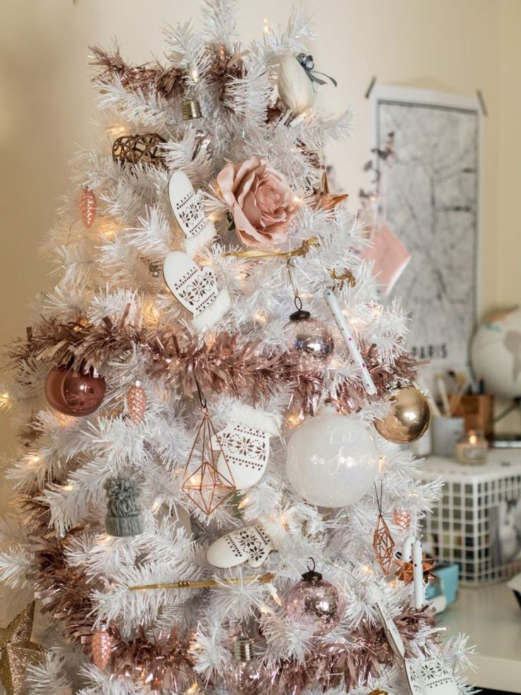 white christmas tree with rose gold and pink decorations Christmas