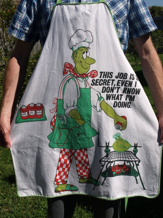 Vintage Funny BBQ Super Chef Kitsch Apron  70s by FunkyKoala