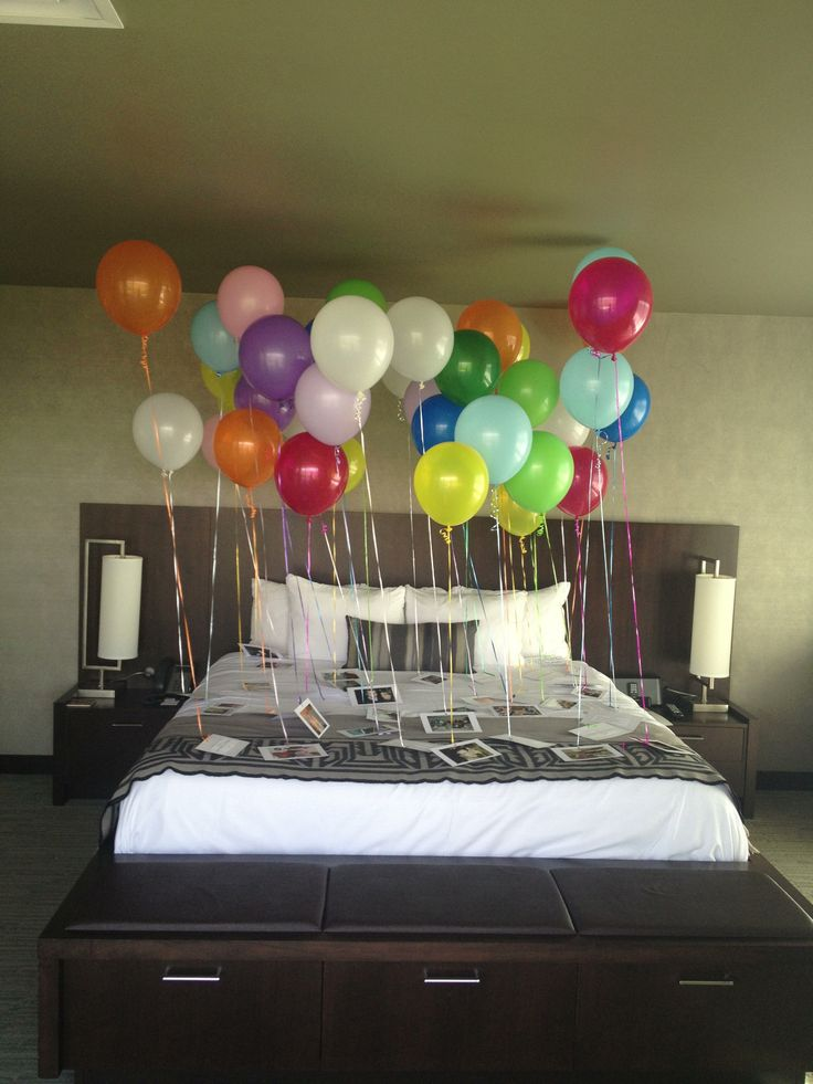 Great Birthday idea! It was my fiancé's 40th birthday. I collected 40 pictures and 40 memories from our closest family and friends.  Attached them to index cards and tied them to 40 balloons. He was so surprised and it was a great way to start off a party.  This can be done for any year. After the party I made a book with the pictures and memories.