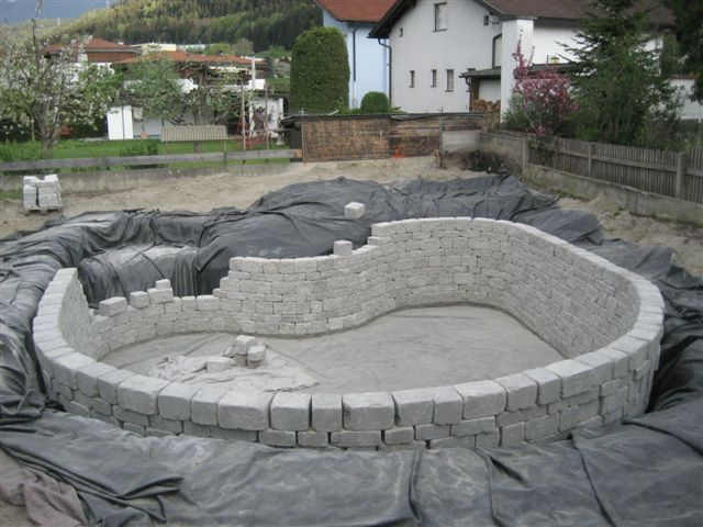 Building a new natural pool garden pinterest this for Concrete swimming pool construction