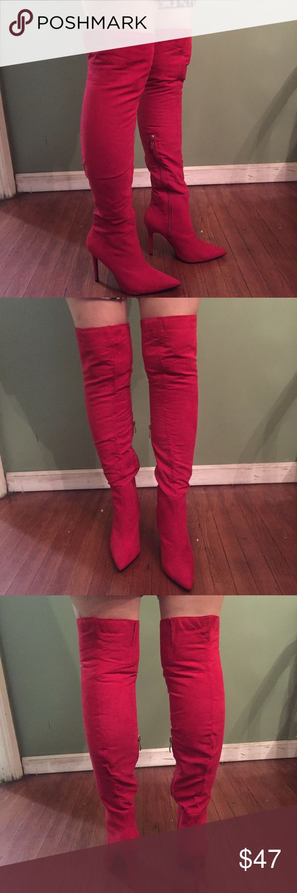 💋Red boots💋 💋All red knee high heeled  boots & new never used  🎉 New without tag🎉 🙀Look through my closet to pair with this item& bundle to save!💕🙀 ❣️Make An Offer!❣️ WINDSOR Shoes Over the Knee Boots