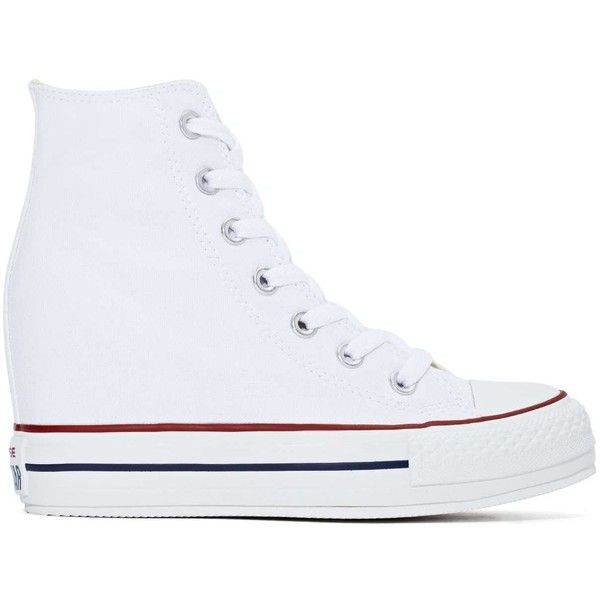 Converse High Top Fancy Platform Sneakers ($75) ❤ liked on Polyvore featuring shoes, sneakers, converse, tenis, zapatillas, white platform sneakers, white high tops, white high-top sneakers, high top platform sneakers and high heel sneakers