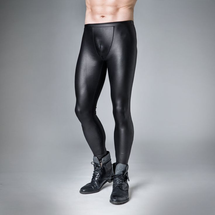 skintight male leather look leggings spandex black  male collection  Skin tight Leggings und