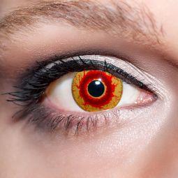 Rote Kontaktlinsen farbige Motivlinsen rot / gelbe Dämonenaugen von KwikSibs, intensiv, 3-farbig