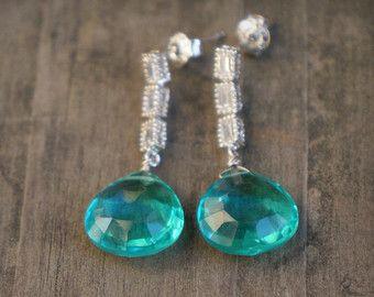 Regalos azul Pendientes plata azul gotas piedras preciosas Pendientes de Dama Aqua