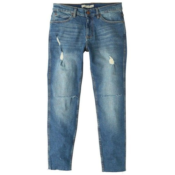 MANGO MAN Skinny ripped Dylan jeans ($70) ❤ liked on Polyvore featuring men's fashion, men's clothing, men's jeans, dark blue, mens ripped jeans, mens destroyed skinny jeans, mens torn jeans, mens dark blue jeans and mens skinny jeans