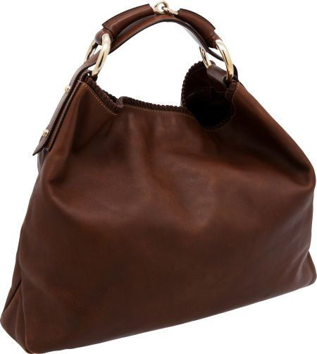 Gucci by Tom Ford Natural Brown Leather Horsebit Hobo Bag