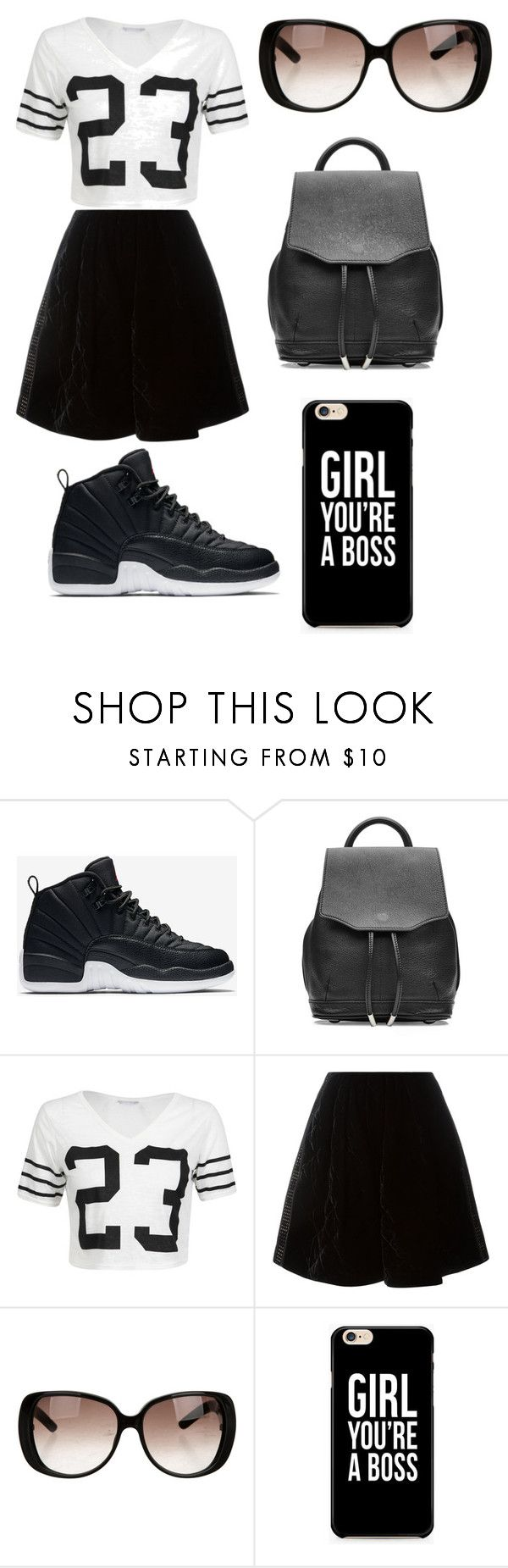 """""""Black and White Jordan 12"""" by lifeissweet170000 ❤ liked on Polyvore featuring NIKE, rag & bone, Fendi and Gucci"""