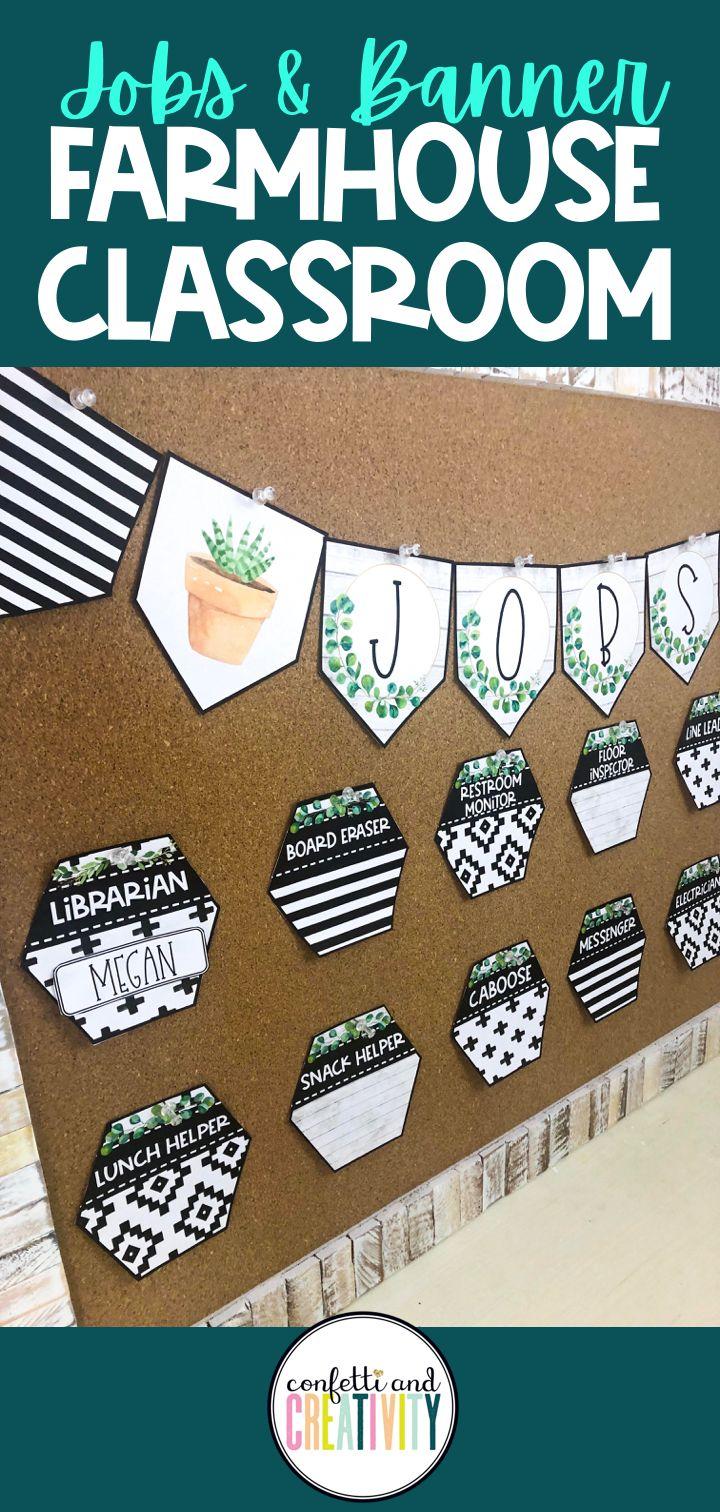 Farmhouse classroom job display and banner classroom