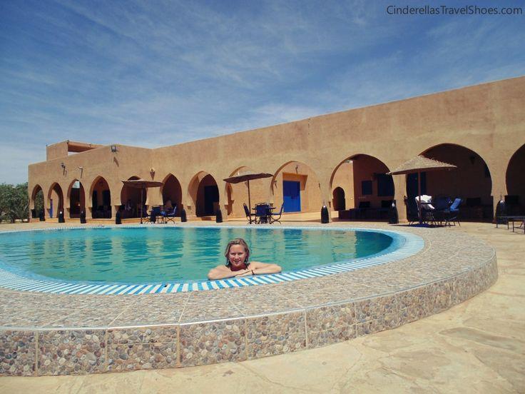 Me enjoying pool in Sahara desert in Morocco
