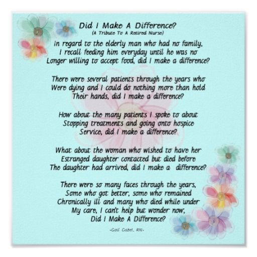 """Retired Nurse Poem """"Did I Make A Difference?"""" Poster ..."""