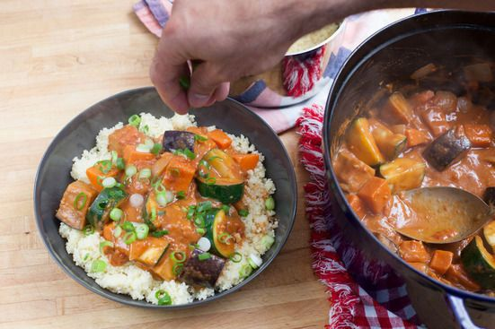 West African Vegetable & Peanut Stew over Couscous  This hearty West African dish, also known as groundnut stew, domoda, or maafe is always made with plenty of vegetables. The characteristic flavor and richness come from creamy peanut butter, a common ingredient in that region.