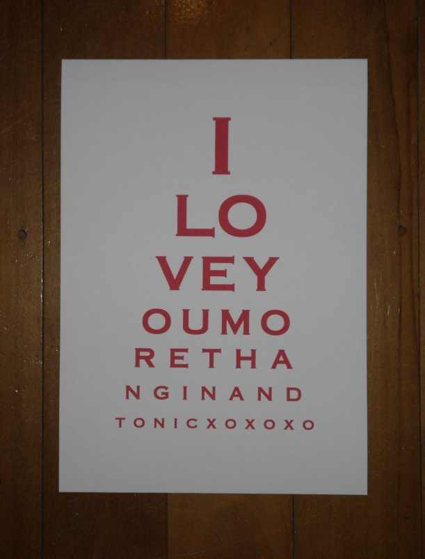 Eye Chart Art - I Love You More Than Gin and Tonic.