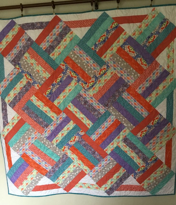 Purple, Orange, Aqua Quilt, Quilts for Sale, Handmade Quilts, Quilts for Gifts, Quilts for Teens, Modern Quilt by NonnaQuilts on Etsy
