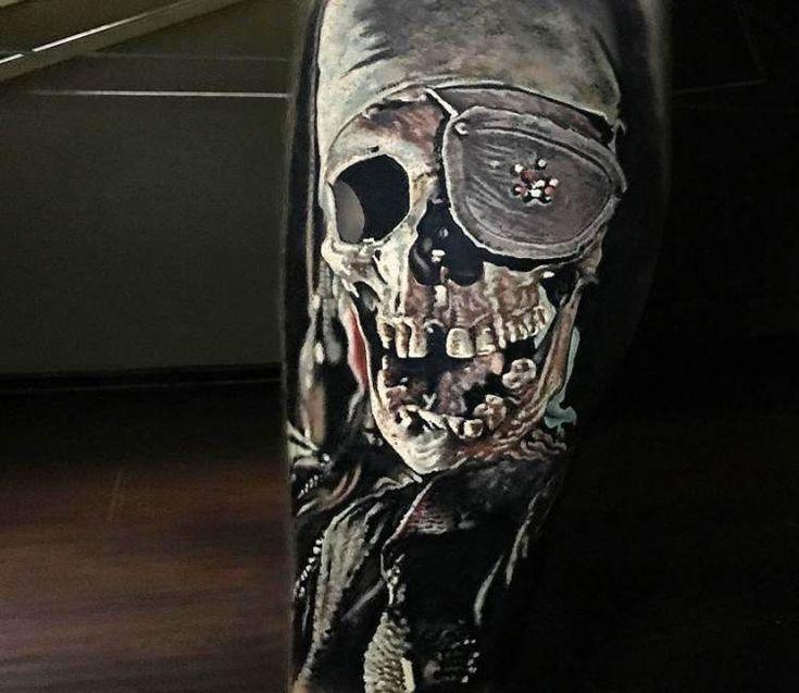 Pirate Skull tattoo by Steve Butcher