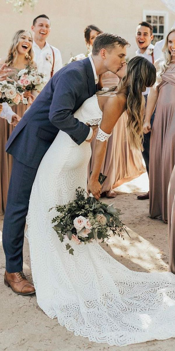 30 Simple Wedding Dresses For Elegant Brides ❤ simple wedding dresses boho off the shoulder lace straight grace loves lace ❤ See more: http://www.weddingforward.com/simple-wedding-dresses/ #weddingforward #wedding #bride