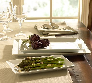Great White Rectangular Serving Platters #potterybarn - I love a crisp white plate to my dishes POP!