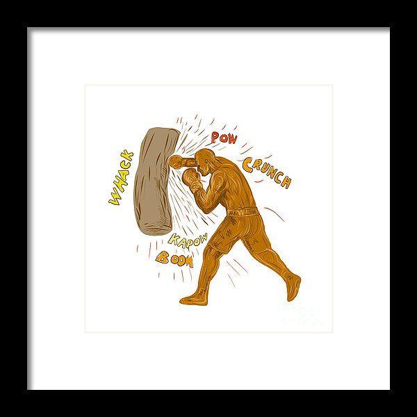 Drawing Framed Print featuring the digital art Boxer Hitting Punching Bag Drawing by Aloysius Patrimonio