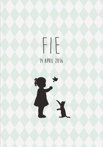 Geboortekaartje Fie - Pimpelpluis - https://www.facebook.com/pages/Pimpelpluis/188675421305550?ref=hl (# meisje - poes - kat - vogel - silhouet - origineel)