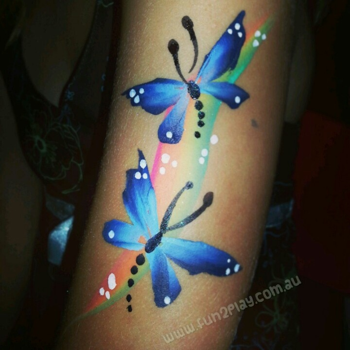 Super quick dragonflies and rainbow design under 3 minutes using TAG face paint and a #12 flat brush. Artist Kate Matthews face painting ideas for kids