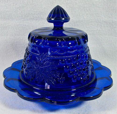 Vintage Mosser Glass Cobalt Blue Grape Cable Covered Butter Dish Mint