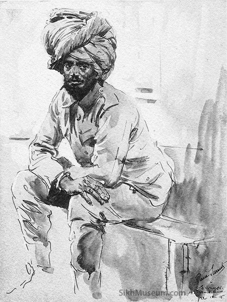 Sikh Soldier in World War I, Title: 113th Ambulence, Artist: Paul Sarrut c. Oct. 22, 1915, Print, British and Indian Troops in Northern France, 70 War Sketches. To see more artwork like this visit the SikhMuseum.com Exhibit - The Art of War