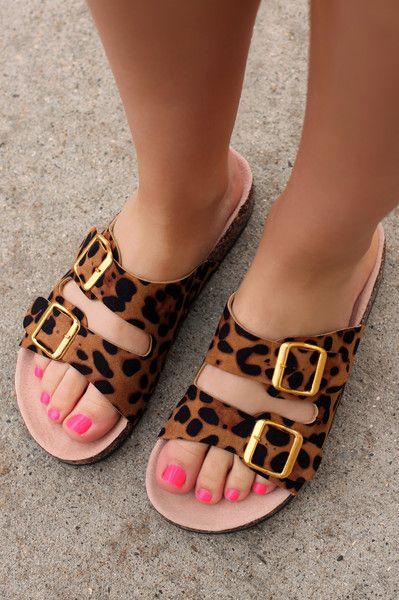 Cheetah Print Double Buckle Sandals | UOIonline.com: Women's Clothing Boutique