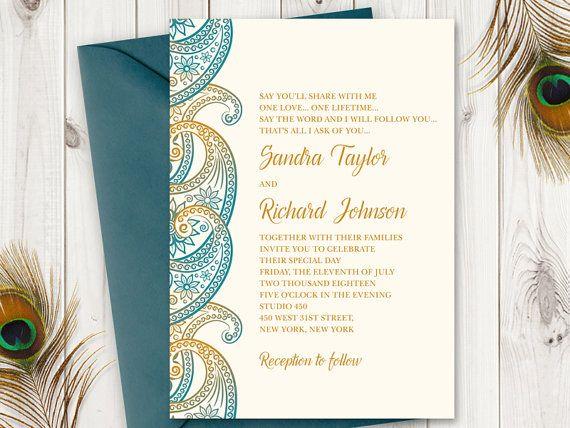 Teal Amp Gold Paisley Wedding Invitation Printable Template Peacock Colors Vintage Boho Style