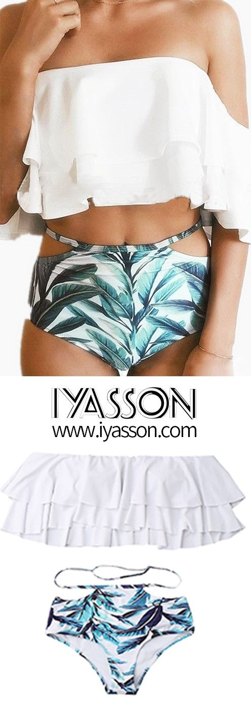 Fabala bikini set,white top&palm leaves underwear.Wear this swimsuit and go to the beach to enjoy sunshine.