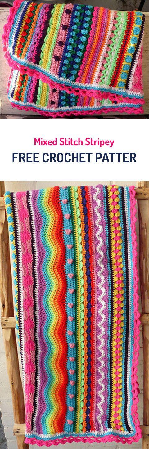 Mixed Stitch Stripey Free Crochet Pattern #crochet #crocheted #stitch #blanket #yarn