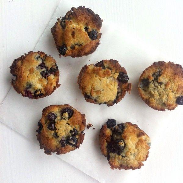 Kokos-citroenmuffins met blauwe bessen