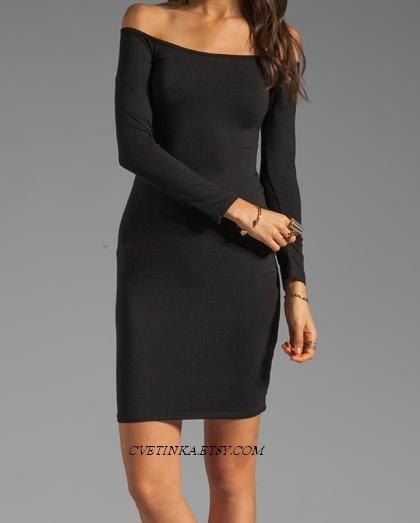 Love It///// Eco Friendly Off the shoulder Sexy Little Black Strapless Dress Long Sleeve