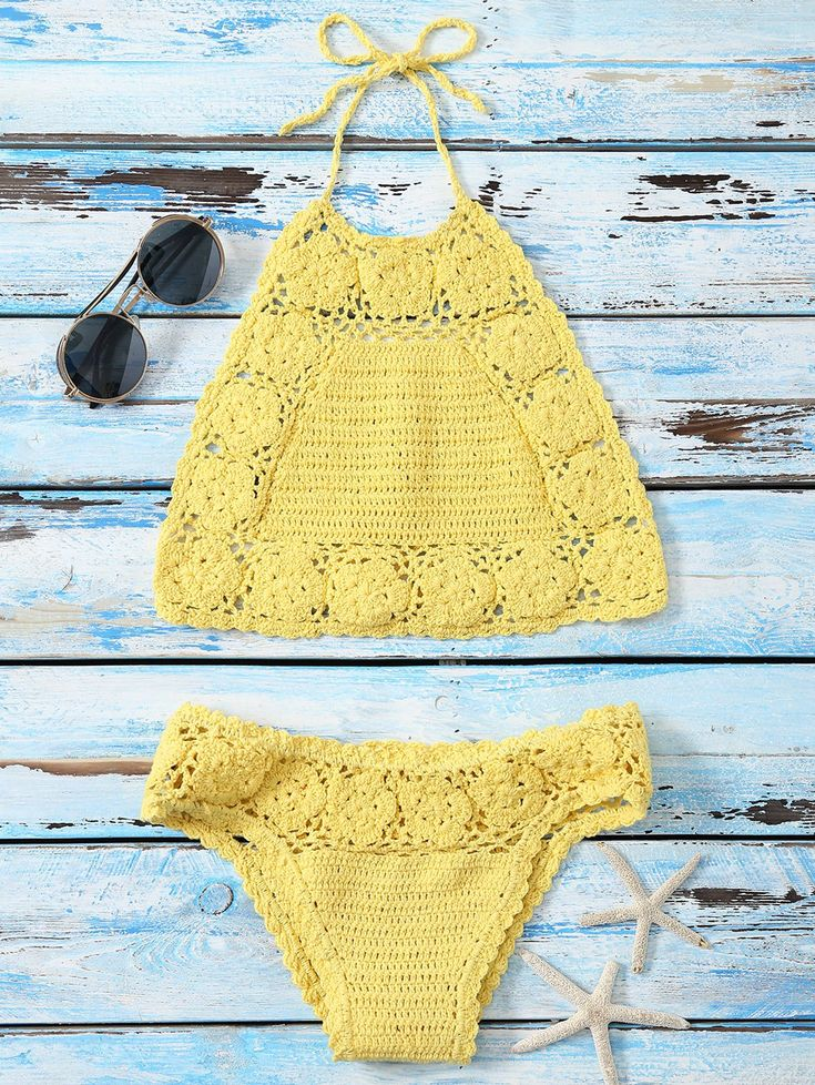 Crochet Halter Flower Pattern Bikini in Yellow | Sammydress.com