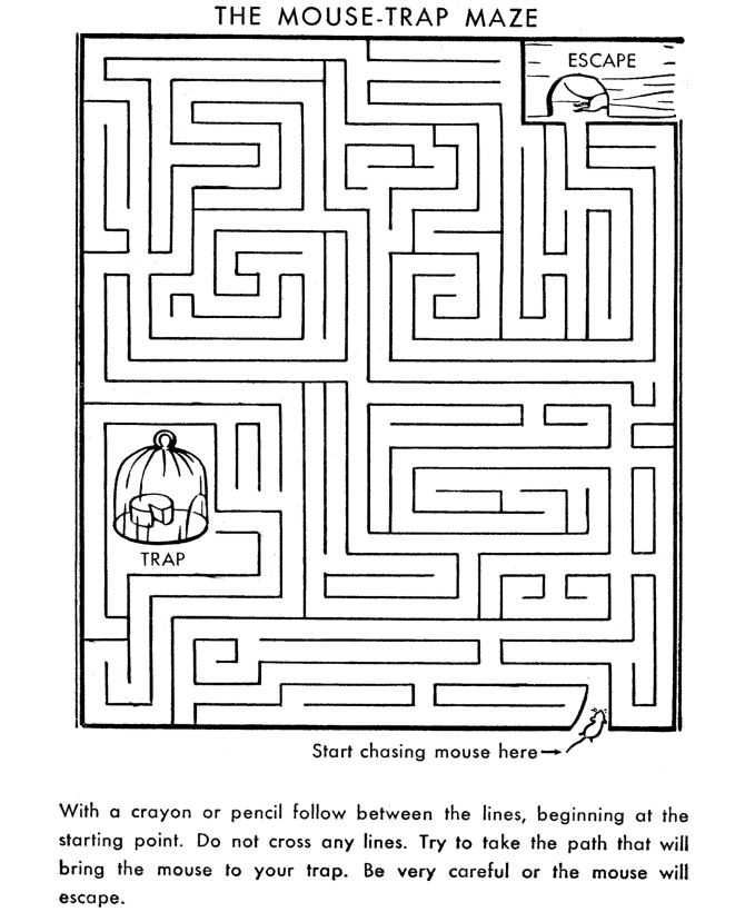 Maze Activity Sheet Mouse Trap Channel Maze Mazes
