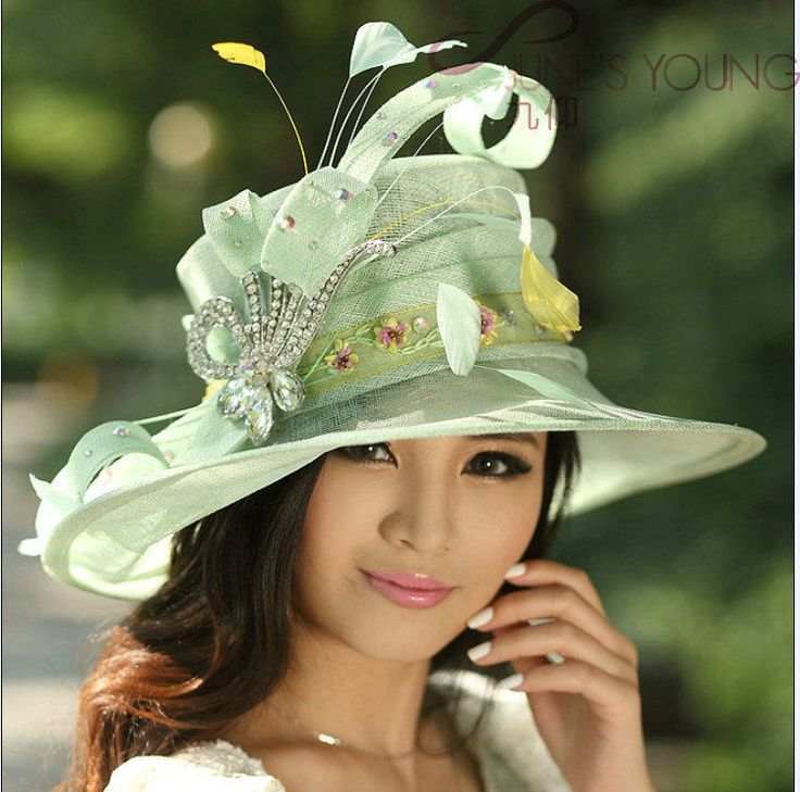 New Woman Kentucky Church Derby Wedding Sinamay Ascot Dress Hat Green Wide Brim #ChurchDress