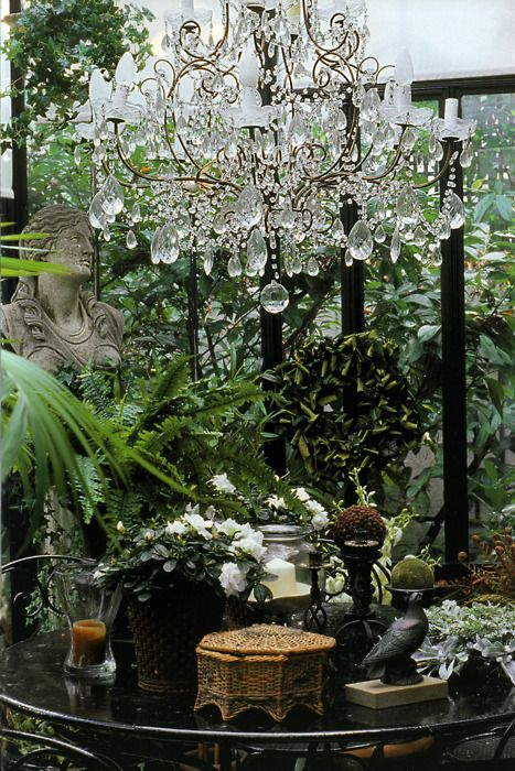 I love chandeliers and although might be very impractical in a conservatory - I do like the idea! Green and cut glass just go so well together