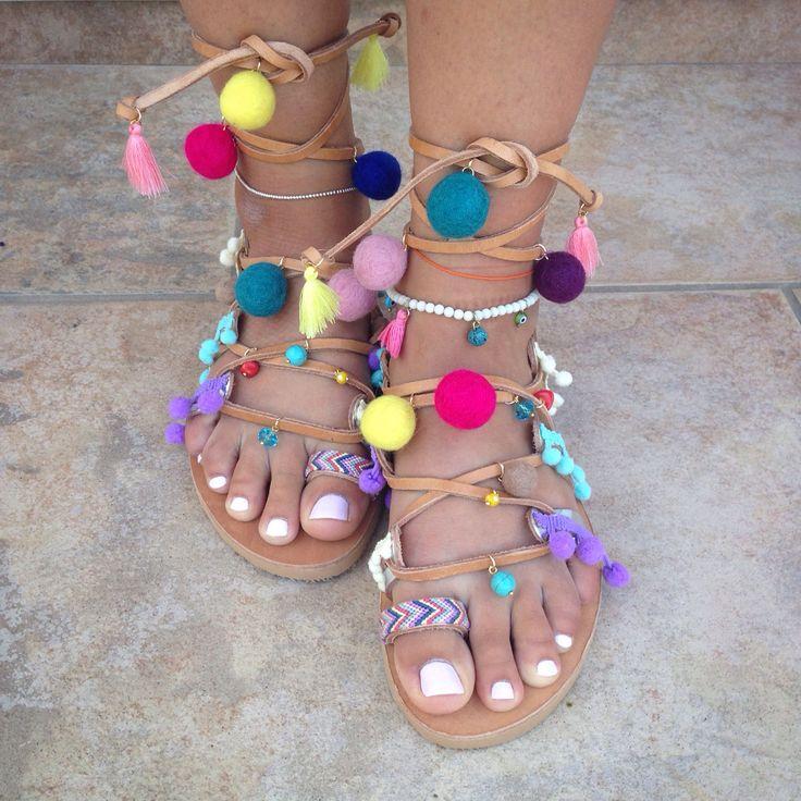 "The unique ""colorful pom pom"" sandals handmade by @bohemian__dreams! ✨"