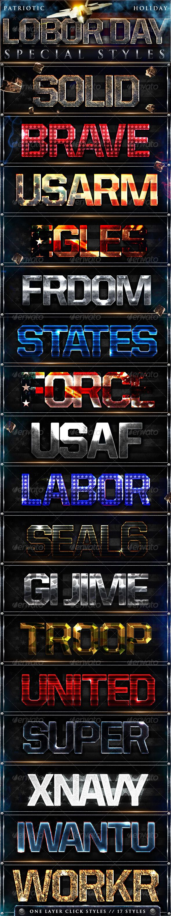 Labor Day Photoshop Styles