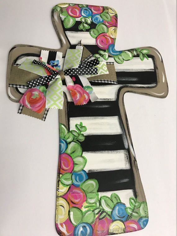 *This fun cross door hanger is perfect for spring right into summer!! These bright fun colors will make your front door or porch stand out!! This also makes the perfect gift for mothers day or a bridal shower!! *Please attach a note if you would like to change any colors or
