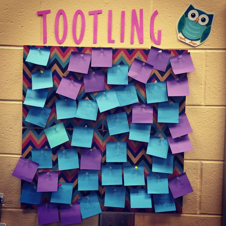 Tootling- the opposite of tattling. Tootling is when students write a positive note about their classmates or teacher and stick it up on our tootling board. They love doing it, and it helps promote a cohesive classroom community!