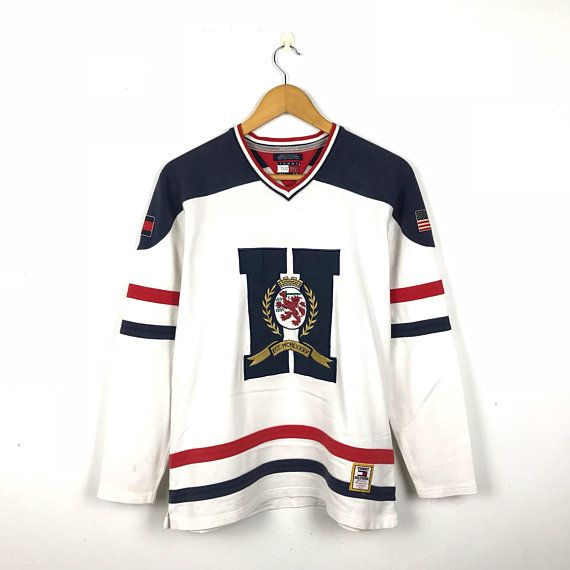 7d7f69b11 TOMMY HILFIGER Vintage 90s Tommy Hilfiger Crest Big Logo Usa Hockey / Rugby  Number 8 Long Sleeve Shirt Size Small