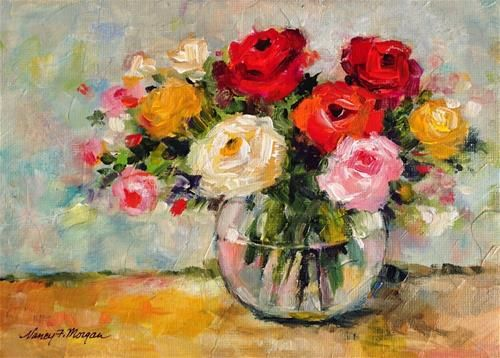 """Daily Paintworks - """"Mixed Roses"""" - Original Fine Art for Sale - © Nancy F. Morgan"""