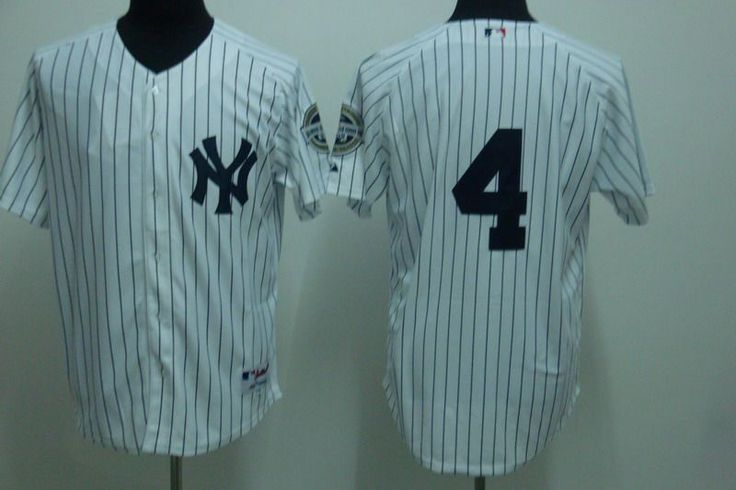 Men's MLB New York Yankees #4 Lou Gehrig White 2009 Logo Cool Base